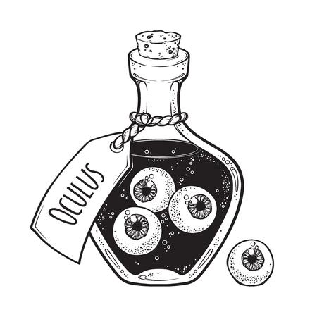 Gałki oczne w szklanej butelce na białym tle. Naklejka, łatka, nadruk lub blackwork projekt tatuażu ręcznie rysowane ilustracji wektorowych sztuki halloween Ilustracje wektorowe