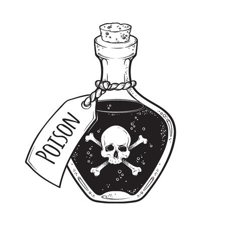 Veleno in bottiglia line art e dot lavoro disegnato a mano illustrazione vettoriale. Adesivo in stile boho, patch, stampa o disegno del tatuaggio flash blackwork Vettoriali
