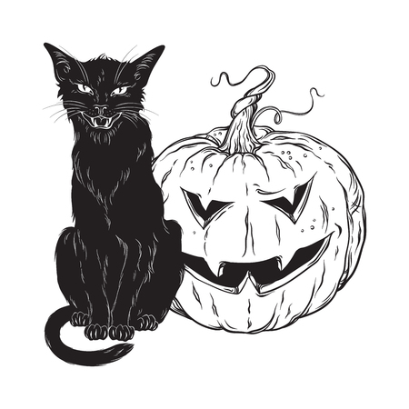 Black cat sitting with halloween pumpkin isolated over white background vector illustration. Witches familiar spirit animal, gothic style card or poster design