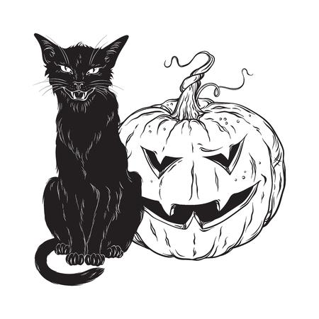 Schwarze Katze, die mit Halloween-Kürbis lokalisiert über weißer Hintergrundvektorillustration sitzt. Hexen vertrautes Geistertier, gotische Artkarte oder Plakatentwurf Vektorgrafik