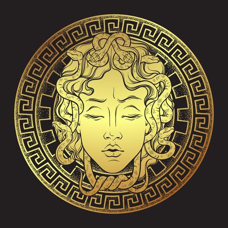 Cabeza dorada de Medusa Gorgona en un escudo dibujado a mano arte lineal y diseño de impresión de trabajo de punto aislado ilustración vectorial. Gorgoneion es un amuleto protector