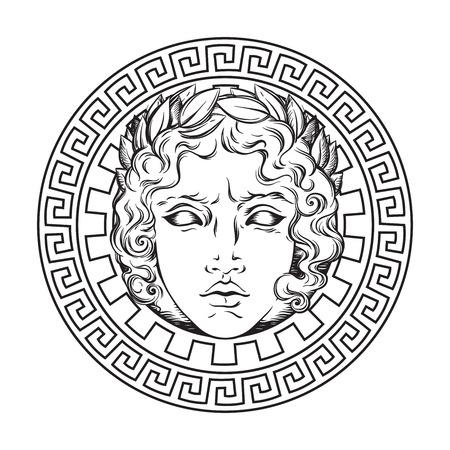 Dio greco e romano Apollo. Logo in stile antico disegnato a mano o illustrazione di vettore di arte del design di stampa