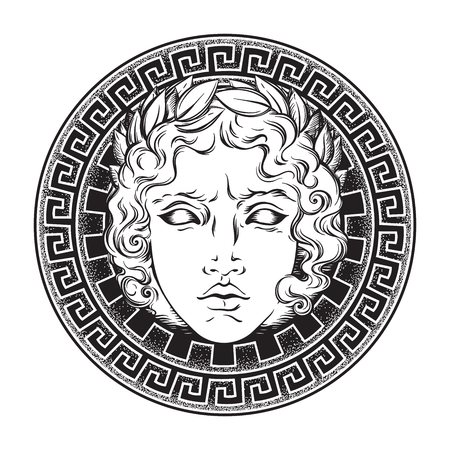 Greek and roman god Apollo. Hand drawn antique style logo or print design art vector illustration