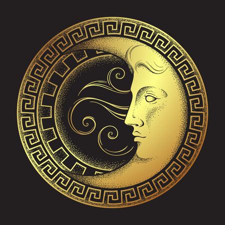 Mezzaluna in stile antico disegnato a mano linea arte e dotwork. Boho chic arte del tatuaggio, poster, velo d'altare, arazzo o illustrazione vettoriale di disegno di stampa del tessuto