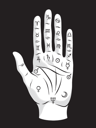 Palmistry or chiromancy hand with signs of the planets and zodiac signs black and white hand drawn design isolated vector illustration Ilustración de vector
