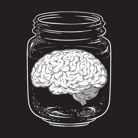 Human brain in glass jar isolated. Sticker, print or blackwork tattoo design hand drawn vector illustration.
