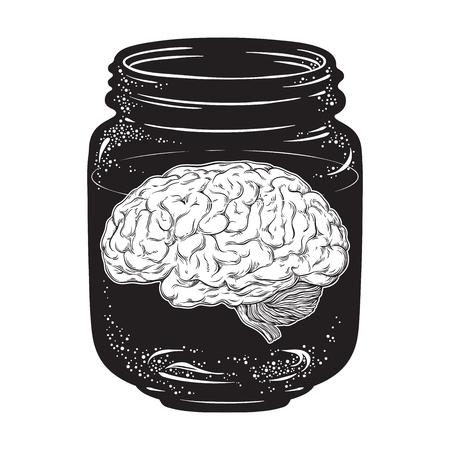 Human brain in glass jar isolated. Sticker, print or blackwork tattoo design hand drawn vector illustration.