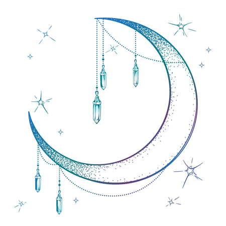 Blue crescent moon with moonstone gem pendants and stars vector illustration. Hand drawn boho style art print poster design, astrology, alchemy, magic symbol over white background Stock Illustratie