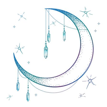 Croissant de lune bleu avec pendentifs gemme pierre de lune et étoiles vector illustration. Conception d'affiche d'impression d'art de style boho dessiné à la main, astrologie, alchimie, symbole magique sur fond blanc Vecteurs