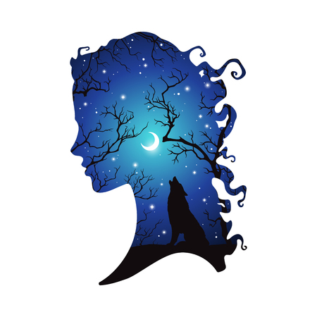 Double exposure silhouette of beautiful woman with shadow of wolf in the night forest, crescent moon and stars. Sticker or tattoo design vector illustration. Pagan totem, wiccan familiar spirit art.