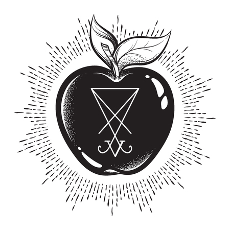 Forbidden fruit apple from the tree of knowledge with he sigil of Lucifer isolated hand drawn line art and dot work vector illustration. Sticker, print or blackwork flash tattoo design