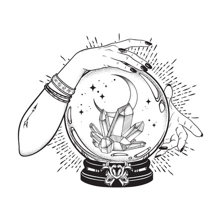 Hand drawn magic crystal ball with gems and crescent moon in hands of fortune teller line art and dot work. Boho chic tattoo, poster, tapestry or altar veil print design vector illustration 免版税图像 - 109497861