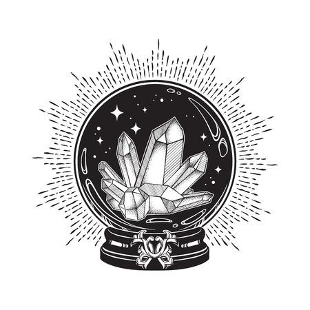 Bola de cristal mágica dibujada a mano con arte lineal de gemas y trabajo de puntos. Tatuaje boho chic, cartel o ilustración de vector de diseño de impresión de velo de altar