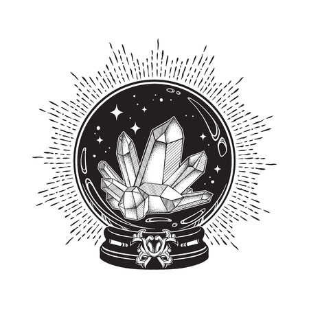 Hand drawn magic crystal ball with gems line art and dot work. Boho chic tattoo, poster or altar veil print design vector illustration