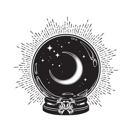 Sfera di cristallo magica disegnata a mano con mezzaluna e stelle al tratto e lavoro a punti. Boho chic tatuaggio, poster o altare velo stampa disegno vettoriale illustrazione Vettoriali