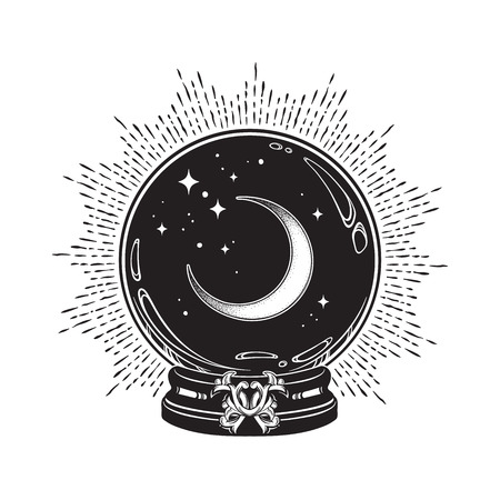 Hand drawn magic crystal ball with crescent moon and stars line art and dot work. Boho chic tattoo, poster or altar veil print design vector illustration Illustration
