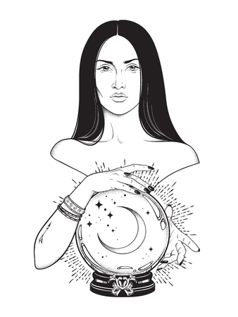 Beautiful brunette witch with magic crystal ball with crescent moon in her hands line art and dot work. Boho chic tattoo, poster, tapestry or altar veil print design vector illustration