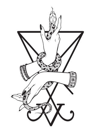 Slang in vrouwelijke handen over de sigil van Lucifer lijntekeningen en puntwerk. Boho chique tatoeage, poster, wandtapijt of altaar sluier print ontwerp vectorillustratie