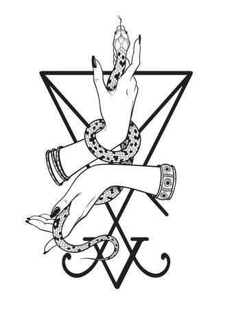 Wąż w kobiecych rękach nad pieczęcią grafiki liniowej Lucyfera i pracy z kropkami. Boho chic tatuaż, plakat, gobelin lub welon ołtarzowy nadruk ilustracji wektorowych