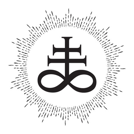 Hand drawn Leviathan Cross alchemical symbol for sulphur, associated with the fire and brimstone of Hell. Black and white isolated vector illustration. Blackwork, flash tattoo or print design Illusztráció