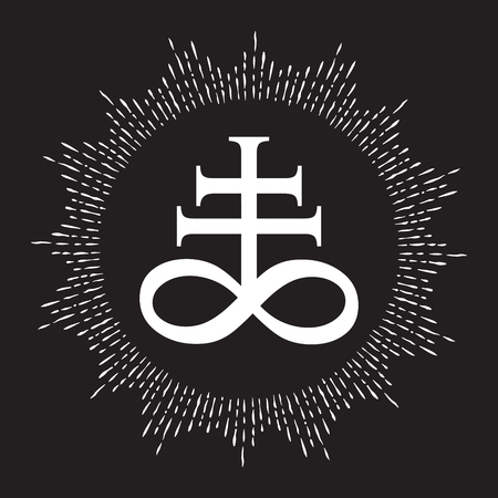 Hand drawn Leviathan Cross alchemical symbol for sulphur, associated with the fire and brimstone of Hell. Black and white isolated vector illustration. Blackwork, flash tattoo or print design Illustration