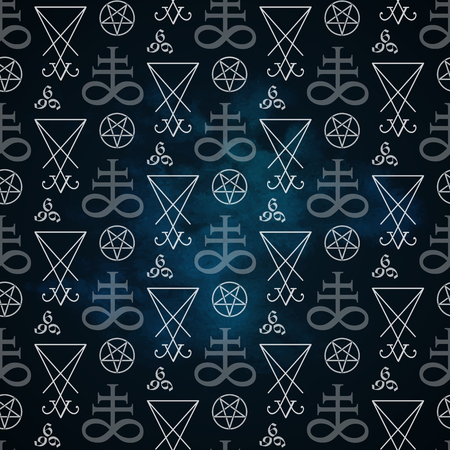 Seamless pattern with occult symbols Leviathan Cross, pentagram, Lucifer sigil and 666 the number of the beast hand drawn black and white isolated vector illustration paper or fabric print design Illustration