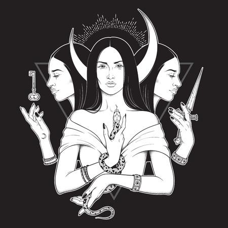 Triple déesse lunaire Hécate la mythologie grecque antique dessinée à la main illustration vectorielle isolée en noir et blanc. Blackwork, tatouage flash ou design imprimé