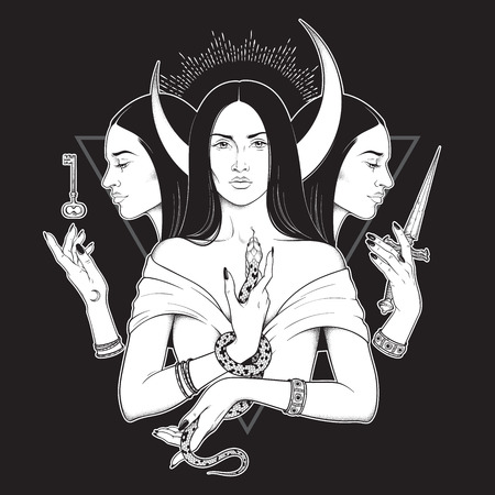 Triple lunar Goddess Hecate ancient Greek mythology hand drawn black and white isolated vector illustration. Blackwork, flash tattoo or print design Stock Illustratie