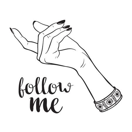 Hand drawn female hand in follow me gesture. Flash tattoo, blackwork, sticker, patch or print design vector illustration. Illustration