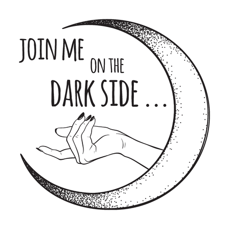 Female hand beckons to the dark side of the Moon isolated vector illustration. Black work, dot work, line art, flash tattoo, poster or print design.