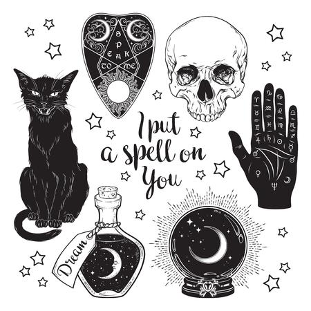 Juego mágico - planchette, cráneo, mano de quiromancia, bola de cristal, botella y arte dibujado a mano de gato negro aislado. Etiqueta engomada del estilo boho chic de tinta, parche, tatuaje flash o ilustración de vector de diseño de impresión Ilustración de vector