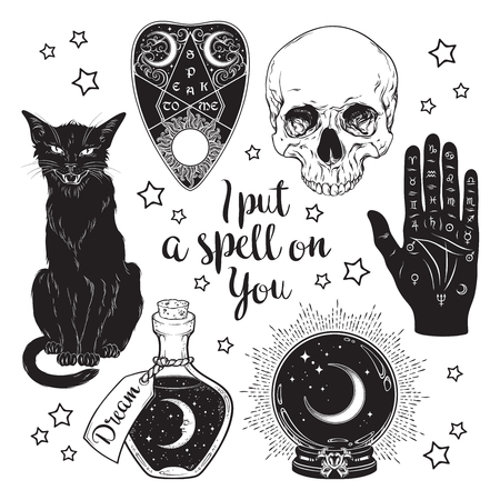 Magic set - planchette, skull, palmistry hand, crystal ball, bottle and black cat hand drawn art isolated. Ink style boho chic sticker, patch, flash tattoo or print design vector illustration Illustration