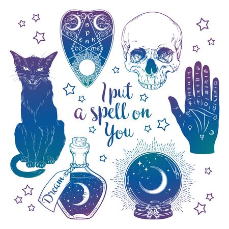 Juego mágico - planchette, cráneo, mano de quiromancia, bola de cristal, botella y arte dibujado a mano de gato negro aislado. Etiqueta engomada del estilo boho chic de tinta, parche, tatuaje flash o ilustración de vector de diseño de impresión