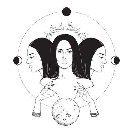 Dreifache Mondgöttin Hekate der antiken griechischen Mythologie handgezeichnete schwarz-weiß isolierte Vektorillustration. Blackwork, Flash Tattoo oder Printdesign
