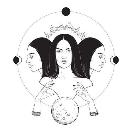 Triple lunar Goddess Hecate ancient Greek mythology hand drawn black and white isolated vector illustration. Blackwork, flash tattoo or print design Ilustração