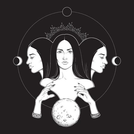Triple lunar Goddess Hecate ancient Greek mythology hand drawn black and white isolated vector illustration. Blackwork, flash tattoo or print design Illustration