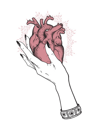 Human heart in graceful female hand isolated. Sticker, print or blackwork tattoo hand drawn vector illustration. Illusztráció