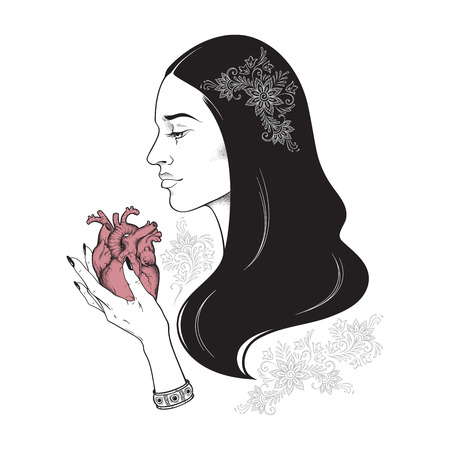Beautiful brunette with heart in her hands line art and dot work vector illustration. Boho chic tattoo, sticker, poster, tapestry or altar veil print design
