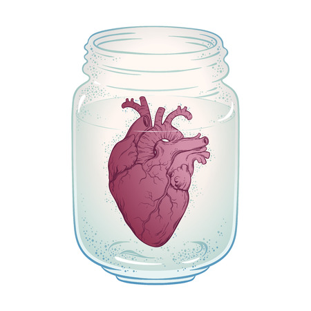 Human heart in glass jar isolated. Sticker, print or blackwork tattoo hand drawn vector illustration.