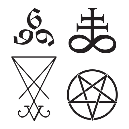 Set of occult symbols Leviathan Cross, pentagram, Lucifer sigil and 666 the number of the beast hand drawn black and white isolated vector illustration. Blackwork, flash tattoo or print design Иллюстрация