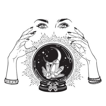 Hand getrokken magische kristallen bol met edelstenen en wassende maan in handen van waarzegster lijntekeningen en puntwerk. Boho chic tatoeage, poster, tapijt of altaar sluier afdrukontwerp vectorillustratie
