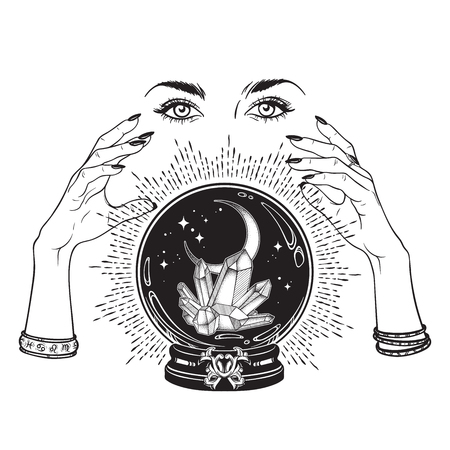 Hand drawn magic crystal ball with gems and crescent moon in hands of fortune teller line art and dot work. Boho chic tattoo, poster, tapestry or altar veil print design vector illustration