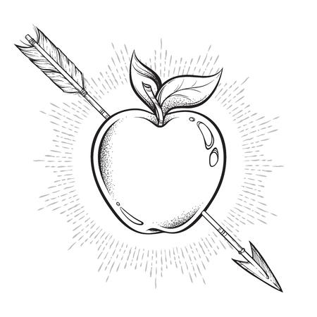 Apple target pierced with arrow line art and dot work. Boho sticker, print or blackwork flash tattoo art design hand drawn vector illustration