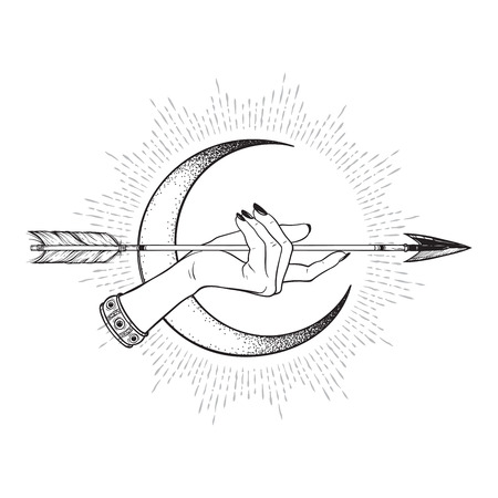 Arrow in female hand in front of the crescent moon line art and dot work. Boho sticker, print or blackwork flash tattoo art design vector illustration