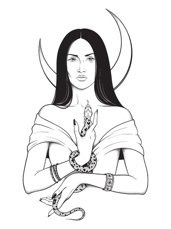 Beautiful brunette witch with serpent in her hands and crescent moon above her head line art and dot work. Boho chic tattoo, poster, tapestry or altar veil print design vector illustration Иллюстрация