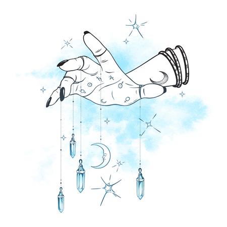 Mano femenina con colgantes de gemas y luna ilustración vectorial dibujada a mano. Tatuaje de astrología boho chic, póster, tapiz o diseño de impresión de velo de altar