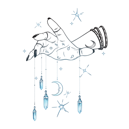Female hand with gem pendants and moon hand drawn vector illustration. Boho chic astrology tattoo, poster, tapestry or altar veil print design Vettoriali