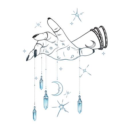 Mano femminile con pendenti di gemme e illustrazione vettoriale disegnata a mano della luna. Boho chic astrologia tatuaggio, poster, arazzo o disegno di stampa velo d'altare