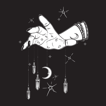 Female hand with gem pendants and moon hand drawn vector illustration. Boho chic astrology tattoo, poster, tapestry or altar veil print design Иллюстрация