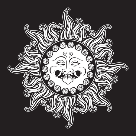 Medusa Gorgon head in flame hand drawn line art and dot work tattoo or print design isolated vector illustration. Gorgoneion is a protective amulet Иллюстрация